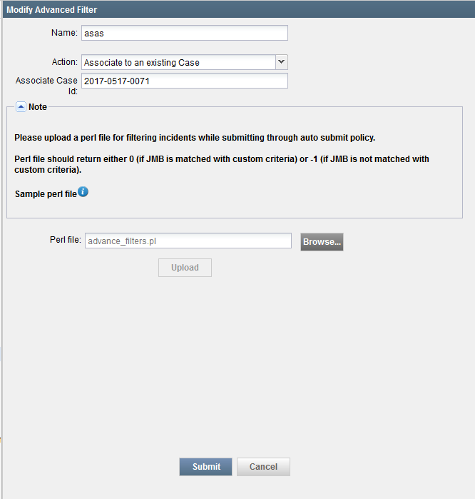 Modify Advanced Filter Page for Modifying an Advanced Auto Submit Filter