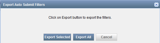 Export Auto Submit Filters Dialog Box