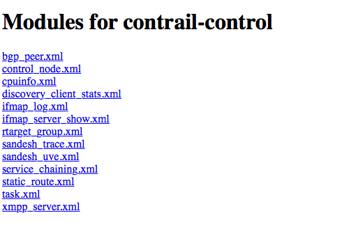Sandesh Modules for the Contrail Control Process