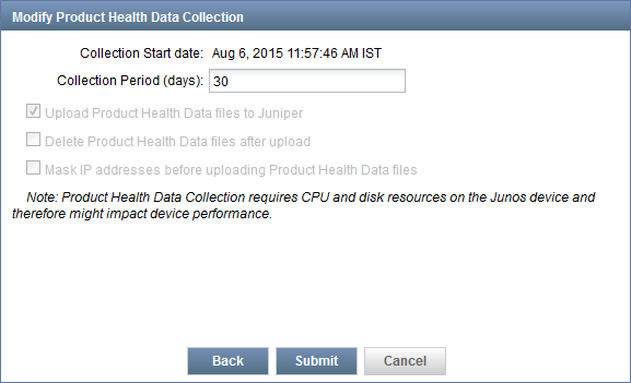 Modify Product Health Data Collection Parameters