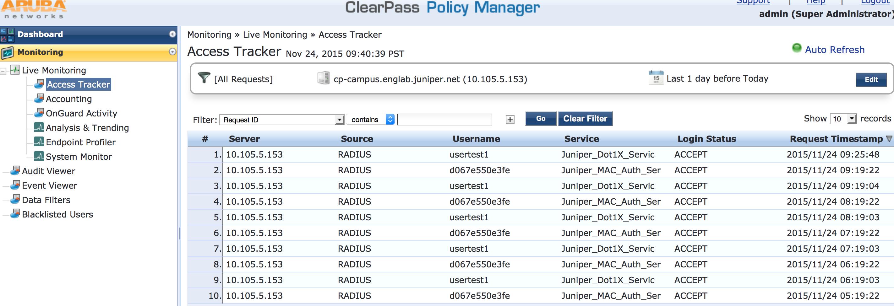 Example: Configuring 802 1X-PEAP and MAC RADIUS