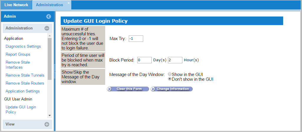 GUI Login Policy Window