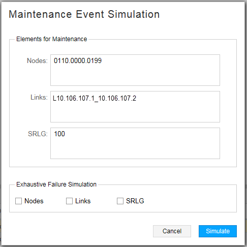 Maintenance Event Simulation Window