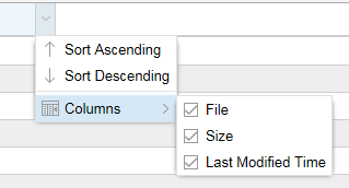 Sorting and Column Selection Options