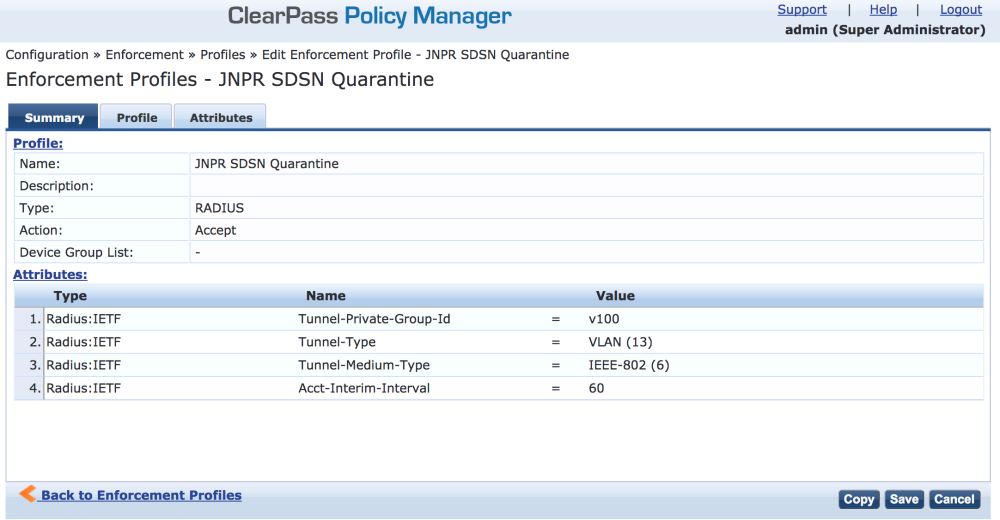 ClearPass Enforcement Profile: Quarantine