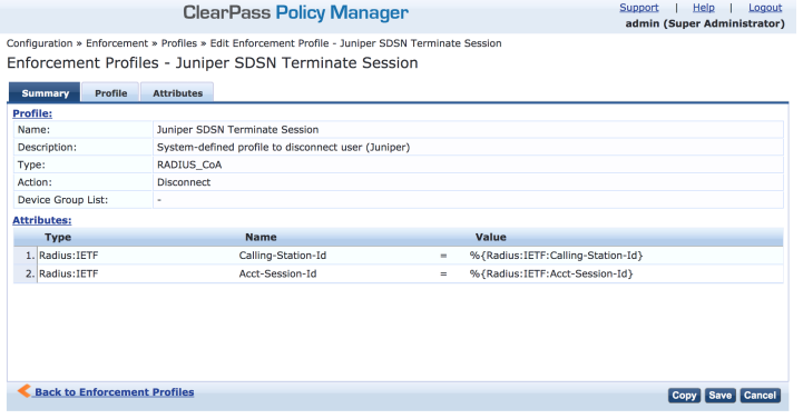 ClearPass Enforcement Profile: Terminate