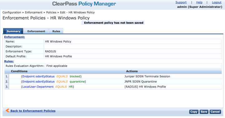 ClearPass Enforcement Policy