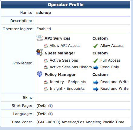 ClearPass API Client Operator Profile Minimum Privileges