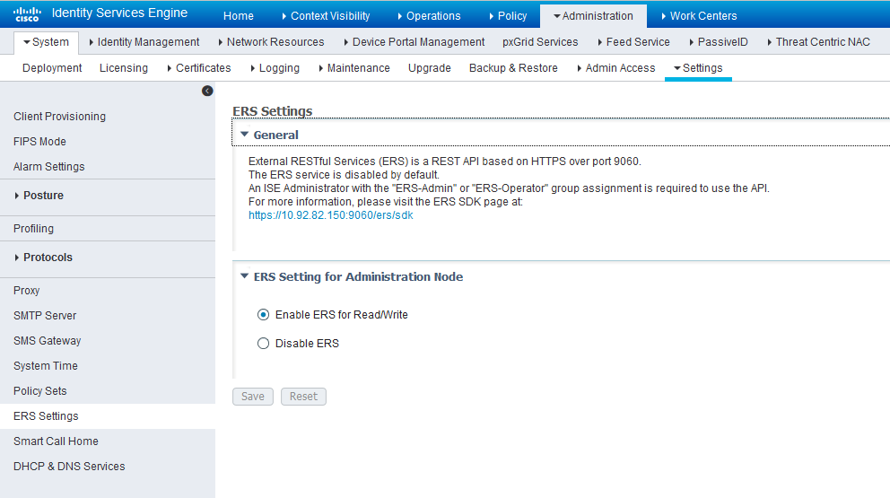 Cisco ISE: Enable ERS