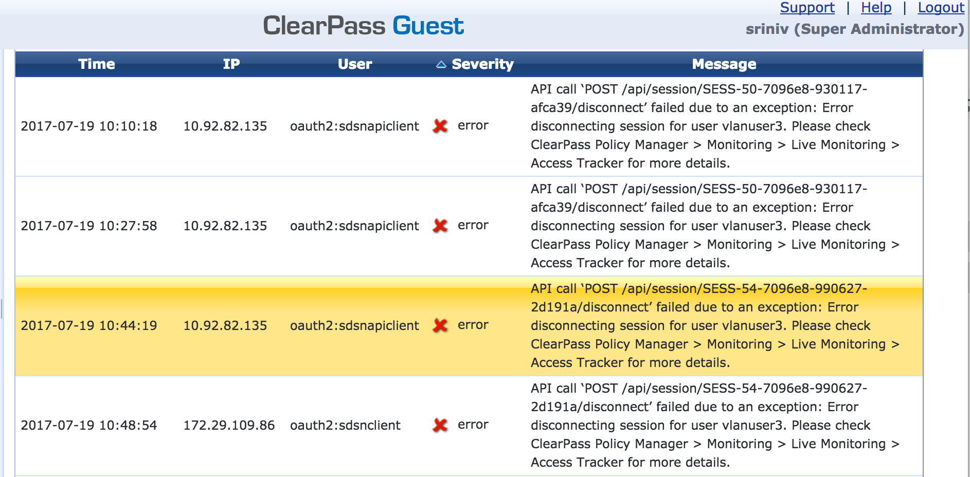 Viewing ClearPass Errors