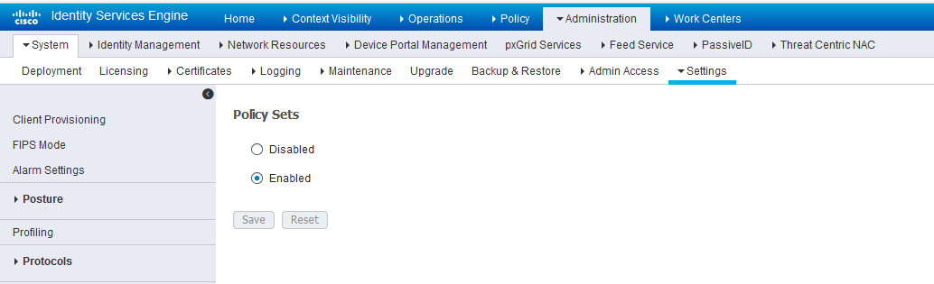Cisco ISE: Enable Policy Sets Mode