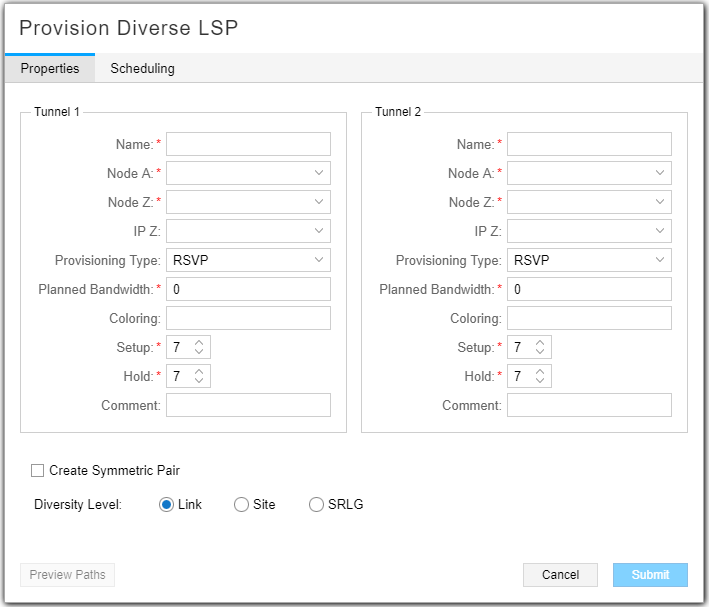 Provision Diverse LSP Window, Properties Tab
