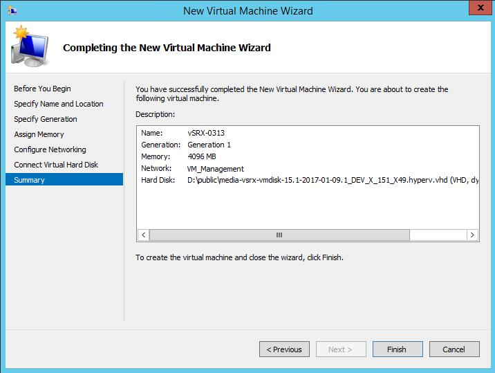 Deploying vSRX in a Hyper-V Host Using the Hyper-V Manager