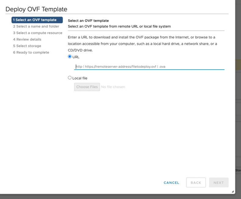 Select an OVF Template Page