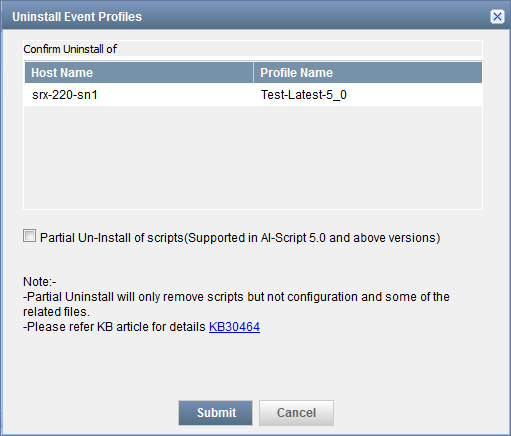 Uninstall Event Profiles Dialog Box