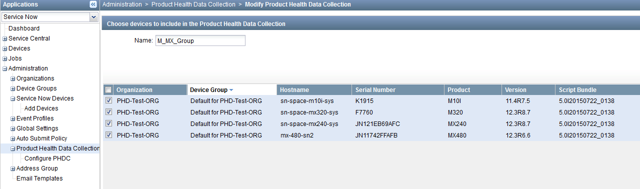 Modify Product Health Data Collection Page